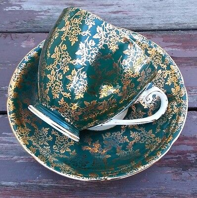 Royal Grafton - Vintage Bone China Tea Cup & Saucer - Forest Green & Gold Chintz
