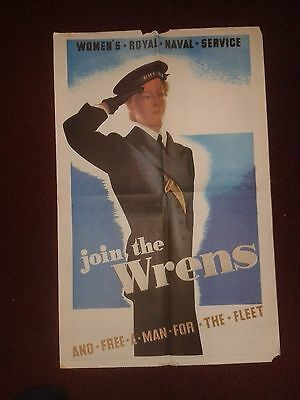 """Vintage World War II Poster """"JOIN THE WRENS""""! - in VGC"""