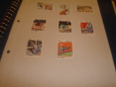 POSTAGE STAMPS -EIGHT-VIETNAM-USED HINGED-1980's-SPACE EXPLORATION RELATED