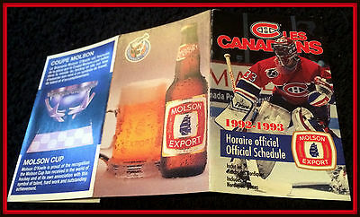 1992-93 Montreal Canadians Molson Export Hockey Pocket Schedule Roy On Cover