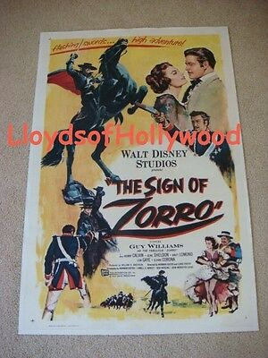 Guy Williams The Sign Of Zorro Disney Orig Usa Linen Backed Movie Poster  1958