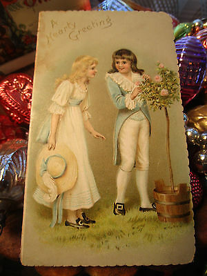Vtg. Victorian DIE CUT CHILDREN Christmas Card w/Roses Unsigned