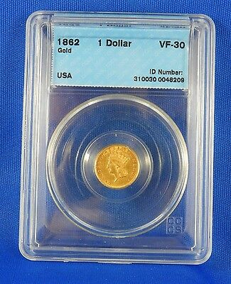 1862 $1 US Gold Coin Graded VF 30