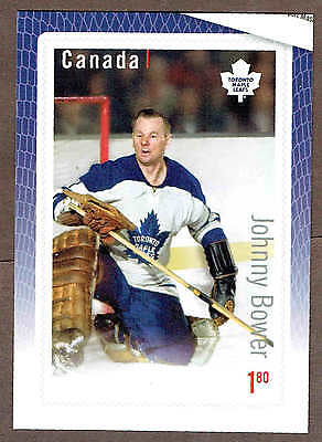 "2015 Canada Post Great Canadian Goalies, Leafs Johnny Bower 3""x4 1/2"" Ad Promo.."
