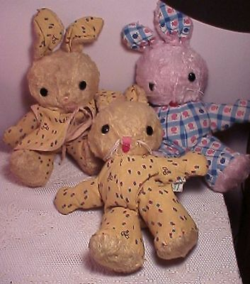 lot of 3 vintage retired GUND bunny rabbits childs toy santi-foam made in swedin
