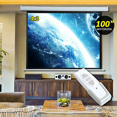"HOMCOM 100"" Electric Motorized Projection Screen 4:3 16:9 Remote Control Cinema"