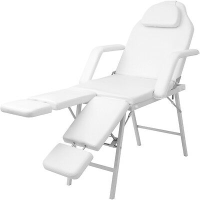 Portable Massage Table Facial Bed Beauty Couch Adjustable White Faux Leather