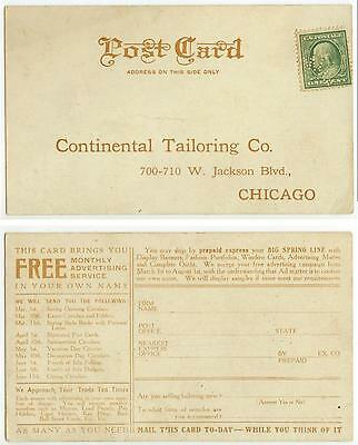 c1910 perfin Morris Goldschmidt Continental Tailoring Co Chicago Illinois ad pc