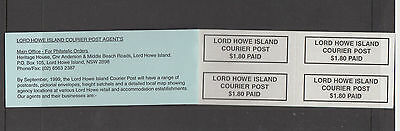 Lord Howe Island 1999 $1.80 PAID P & S LABELS BOOKLET-Cinderella/Local-MUH