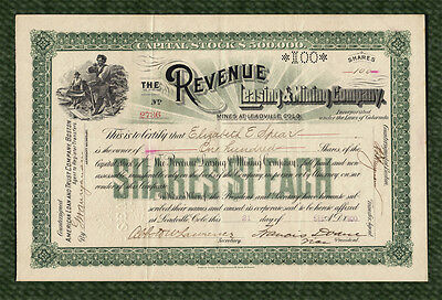 1900 Revenue Leasing & Mining Co. Stock Certificate LEADVILLE COLORADO Silver