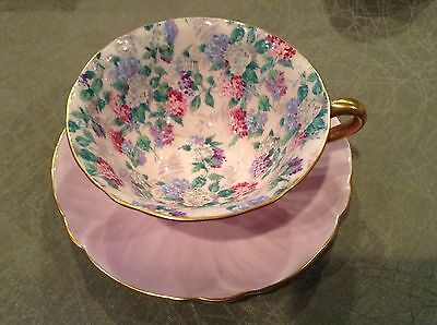 Shelley Rock Garden  Footed Oleander Chintz   Cup,  Saucer  And Plate