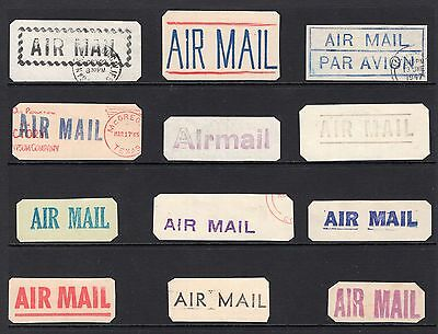World old Air Mail label group circa 1940's