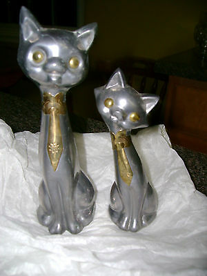 Set Of 2 Vintage Pewter ? Cat Figurines With Gold Tone Ties