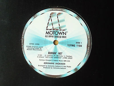 "Jermaine Jackson Burnin' Hot 12"" Single 1980 N/mint"