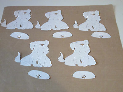 5 Dog And Cat With 5  Bowl Die Cuts In White Card