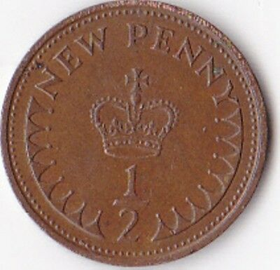 Half Penny Coin (½p) issued 1971 - Elizabeth II
