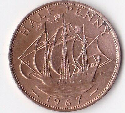 Half Penny Coin (½d) issued 1967 - Elizabeth II