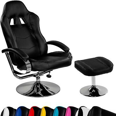 Racing TV Sessel Relax Racer GT mit Fußhocker Gaming Schwarz Chrom