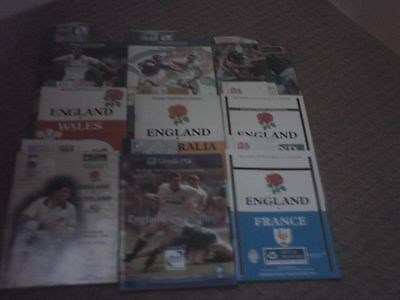 9 x England Rugby Union Programmes & Tickets 1980s,90,2001.