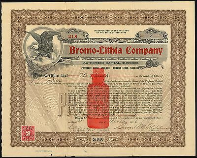 Medical remedy: Bromo-Lithia Company, pair of certs commmon and pref., 1916