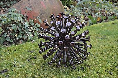 Super handmade large wrought iron nail ball Allium flower sculpture 12 inch