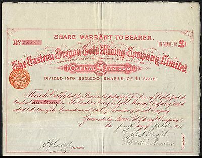 Eastern Oregon Gold Mining Co. Ltd., 10 shares of £1, 1888
