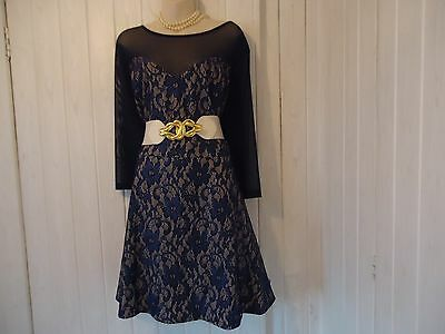 Bnwt Blue Lace Lovedrobe 1940S 1950S Style Party Dress Size 24-26 Wedding