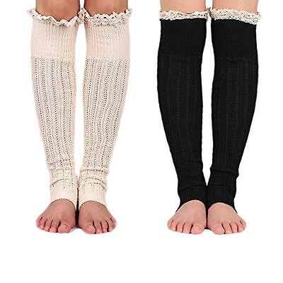 Spring Fever Crochet Lace Trim Cotton Knit Leg Warmers Boot Socks, Beige & New