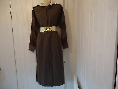 Vintage Brown Cream  Wool 1930S 1940S Military Style Tea Dance Dress Size 14