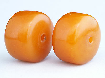 """2 Antique PHENOLIC beads - """"African Amber"""". African Trade"""