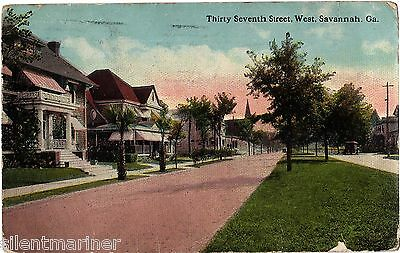 Savannah, Georgia, West 37th Street, old coloured postcard, posted 1913