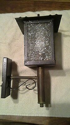 Very old Black metal and brass carriage type lamp