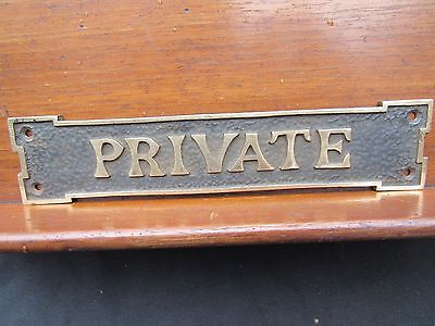 "Private Antique Door Plate Sign 8"" or 20 cm Long Brass c1900-1920 Period"