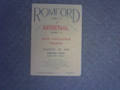Romford Celebrity X1 v Arsenal Skol Challenge Trophy Football Programme 28th May