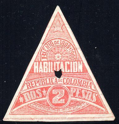 COLOMBIA - 2p TRIANGULAR REVENUE STAMP - 1899/1900 - Anyon H22 - Forbin 22 - RR