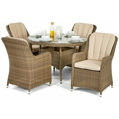 Dorchester Rome Rattan Garden Furniture 4 Seater Round Dining Table & Chairs Set