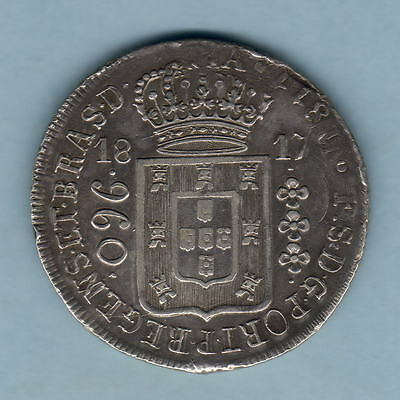 Brazil.  1817-R 960 Reis..  gVF.. Parts of Host Coin (including date) Visible