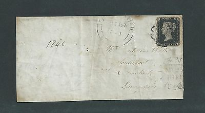 GB QUEEN VICTORIA 1840  1d PENNY BLACK ON COVER FRONT ONLY .WITH  BLACK M/ CROSS