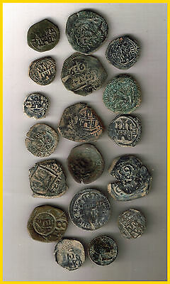 LOT(A)  14 SPANISH  ANCIENT COINS OF DIFERENT TIMES-MEDIEVAL-COLONIAL-etc.