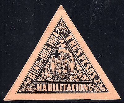 COLOMBIA - 3p TRIANGULAR REVENUE STAMP - 1903/04 - Anyon H38a - Forbin 30 - RR