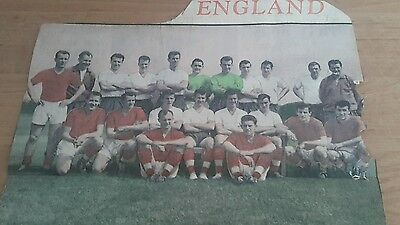 "Coloured Newspaper Picture 14""x9"" of England Football team 1961"