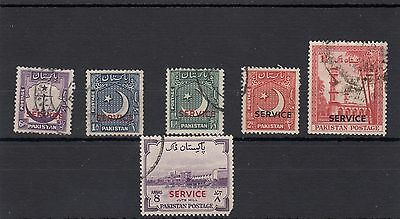 """Pakistan.6 -- 1953/55 Used Stamps With """" Service """"overprint On Stockcard"""