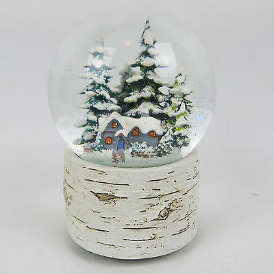 "Large White Wooden Look Christmas Snow Globe Musical Box 6"" Forest House"