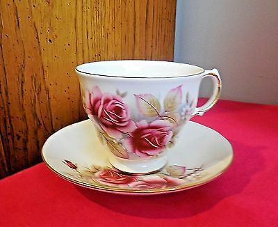 Vintage Queen Anne Tea Cup and Saucer - Pink Roses - Made in England
