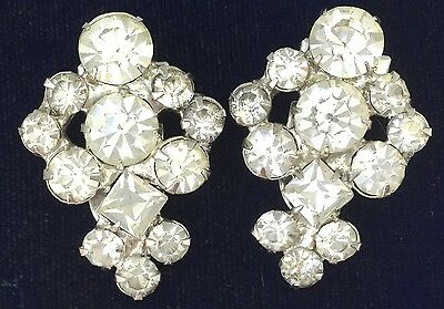 Sparkling Vintage Art Deco Dress Shoe Clip Pair Clear Rhinestone Jewelry