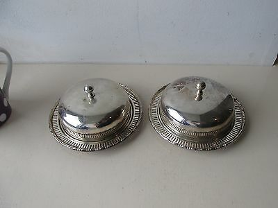 pair of silverplated dishes with glass liners