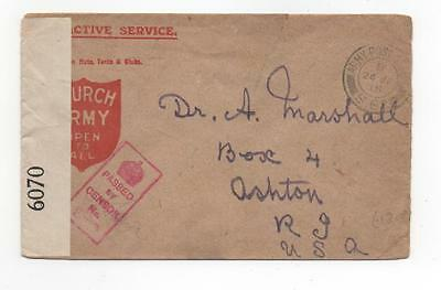1918 British Army, France to USA - APO, stationery, censor