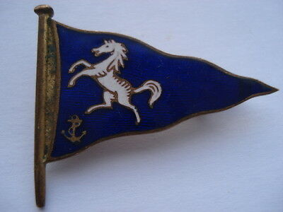 C1950S Vintage The Medway Cruising Club(Yacht Club)Enamel Bergee/flag Pin Badge