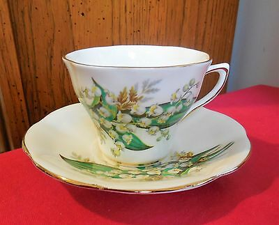 Vintage Royal Seagrave Bone China Cup and Saucer - White Silver Bells - England
