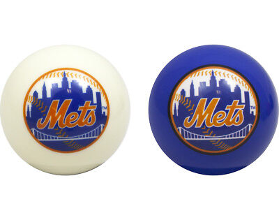 MLB Imperial New York Mets Pool Billiard Cue/8 Ball One Pair - Blue & White